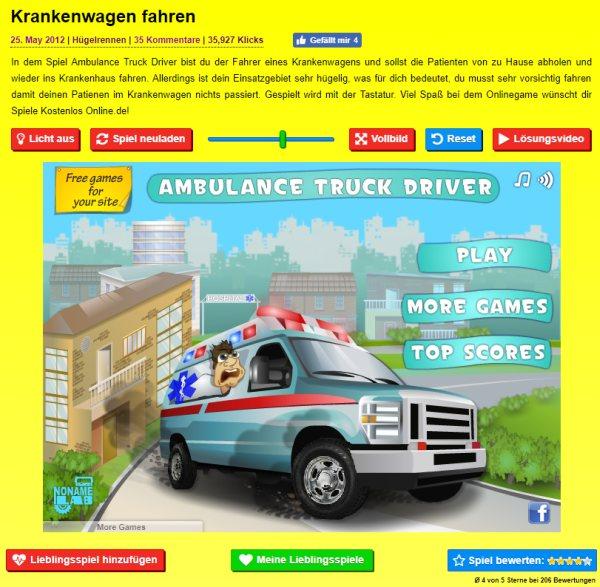 Spiel Krankenwagen fahren